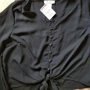 Forever 21 net black chiffon shirt size S
